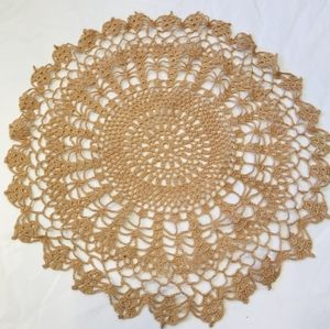 Vintage tan colored hand crocheted doily